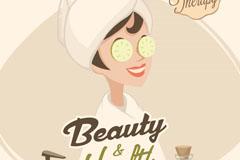 卡通做spa的女子美容海报矢量素