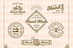 6款复古手工店铺标志矢量素材