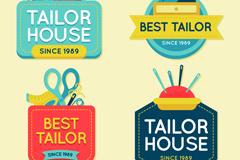 4款彩色裁缝店标签矢量素材
