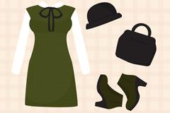 4款秋季女子服饰与配饰矢量素材