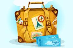 彩绘旅游行李箱和飞机票矢量素材