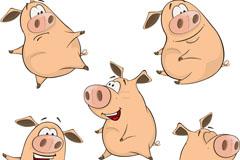 5款可爱卡通猪矢量素材