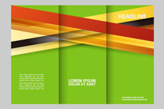 绿色商务三折页宣传单矢量素材