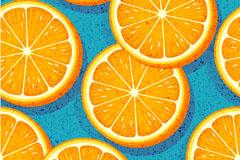 美味橙子切片无缝背景矢量素材