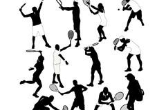 12款创意网球人物剪影矢量素材