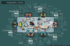 创意团队商务会议俯视图矢量素材