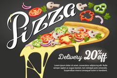 美味三角披萨折扣促销海报矢量图