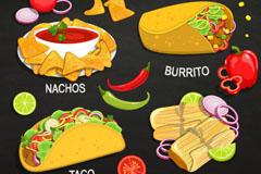 4款美味墨西哥食物矢量素材