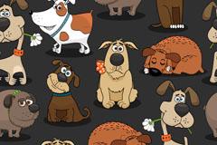 卡通宠物狗无缝背景矢量素材