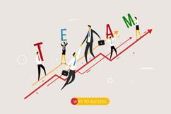 创意业务增长曲线上的商务团队矢