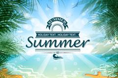 夏季海滩度假海报矢量素材