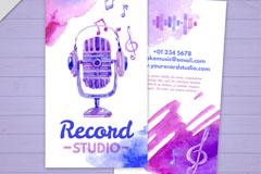 紫色麦克风录音室宣传单矢量素材