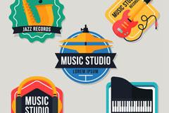 5款创意音乐工作室标签矢量素材
