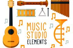 8款扁平化音乐工作室乐器矢量素