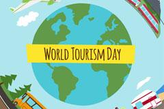 创意地球世界旅游日贺卡矢量图