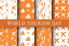 6款橙色世界旅游日无缝背景矢量图