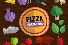 13款扁平化披萨原料矢量素材