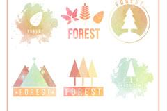 6款水彩绘森林标志矢量素材