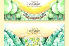 2款彩绘森林风景矢量素材