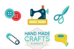 8款创意手工缝纫元素矢量素材