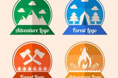 4款彩色森林探险标志矢量素材
