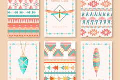6款彩绘部落文化元素卡片矢量素材