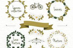 4款绿叶花环装饰物矢量优发娱乐