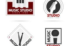 4款时尚音乐工作室标志矢量图