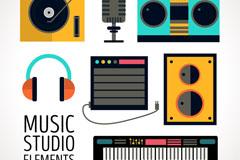 6款彩色音乐工作室元素矢量图