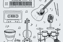 7款手绘乐器设计矢量素材