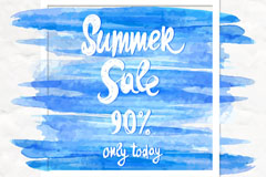 蓝色水彩夏季促销海报矢量素材