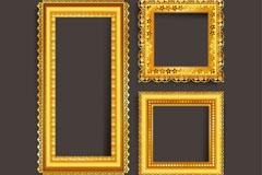 3款金色相框设计矢量素材
