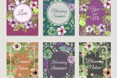 6款美丽夏日花卉卡片矢量素材