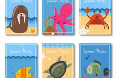 6款可爱夏季动物卡片矢量图