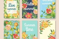 6款彩色夏季花卉卡片矢量素材