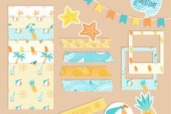 19款彩色夏季剪贴簿元素矢量图