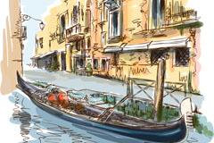 彩绘威尼斯水城风景矢量素材