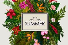 创意夏季花卉标签矢量素材