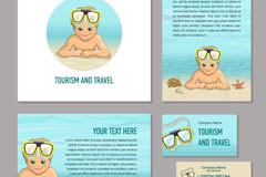 4款彩绘沙滩男孩度假卡片矢量素材