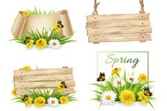 4款春季花卉与蝴蝶装饰木牌矢量图