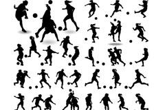 40款动感足球人物剪影矢量素材