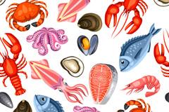 卡通海鲜食物无缝背景矢量图