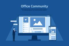 创意商务办公电脑和男子矢量图