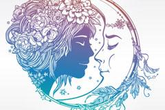 美丽女子和月亮头像矢量素材