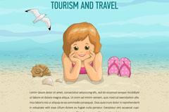 卡通海边度假的小女孩矢量图