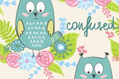 卡通花卉和猫头鹰无缝背景矢量图
