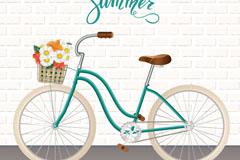 夏季装满鲜花的单车矢量素材