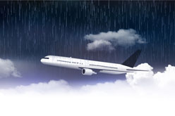 雨天云层中飞行的飞机矢量图