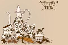 手绘花纹茶壶和茶杯矢量素材