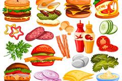 19款美味汉堡包元素矢量素材